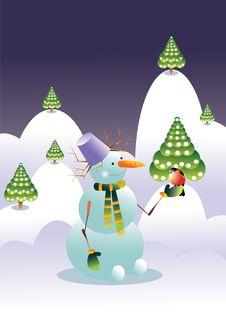 Free Snowman And Bird Royalty Free Stock Photos - 16253898