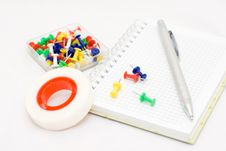 Free Pen And Drawing Pins Stock Photography - 16254002