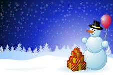 Free Snowman With Gift Boxes Stock Image - 16254061