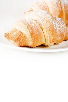 Free Fresh Croissants On White Plate With Empty Space Stock Photos - 16254073