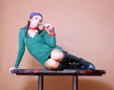 Free Stylish Fashion Model Wearing Short Dress Stock Photography - 16254082