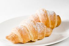 Free Fresh Croissants On White Plate With Powdered Sugar Royalty Free Stock Photo - 16254095