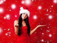 Free Girl Dressed As Santa Stock Images - 16254654
