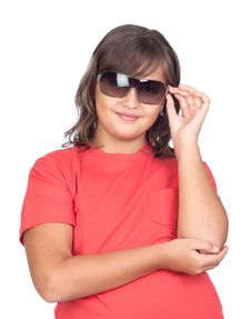 Free Adorable Preteen Girl With Sunglasses Royalty Free Stock Images - 16256489