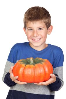Free Adorable Child With A Big Pumpkin Stock Photos - 16257403