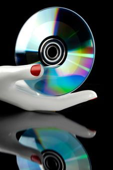 Cd Music In The Hand Royalty Free Stock Photography