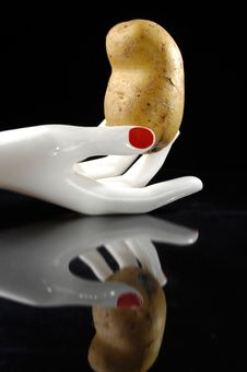 Free Potato In The Hand Royalty Free Stock Photo - 16257835