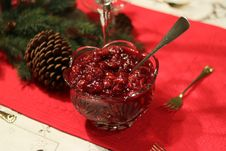 Free Pretty Table With Cranberry Sauce Royalty Free Stock Image - 162501726