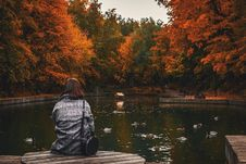 Free Back View Of Woman Sitting On Old Wooden Pier Over Calm Pond In The Park. Stock Images - 162502104
