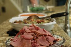 Free Holiday Ham On Buffet Table Royalty Free Stock Photography - 162502137