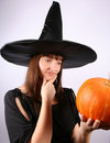 Free Witch With A Pumpkin Royalty Free Stock Image - 16264886