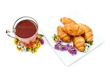 Free Croissants And Hot Tea Stock Images - 16260114