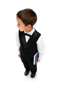 Boy Holding Pen And Book Royalty Free Stock Photo