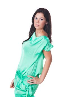 Free Beautiful Brunette Model In Green Dress Royalty Free Stock Image - 16261126