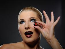 Free Pretty Woman With Bright Make-up And Jewel Stock Images - 16261654