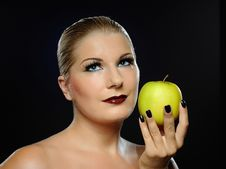 Free Beautiful Woman With Bright Make-up,apple Royalty Free Stock Photo - 16261695