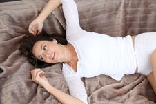 Free Woman At Home Laying On Sofa Stock Images - 16261714