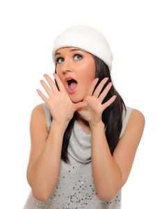 Free Beautiful Winter Woman In A Hat Screaming Royalty Free Stock Photos - 16261928