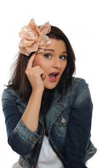 Free Expressions. Young Attractive Woman Is Thinking Stock Photo - 16262030
