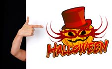 Free Woman Hand Pointing To Halloween Sign Stock Photography - 16262172