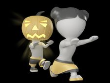 Free Halloween Boy And Girl. 3D Illustration. Royalty Free Stock Images - 16263839