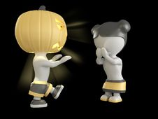 Free Halloween Boy And Girl. 3D Illustration. Stock Photos - 16263843