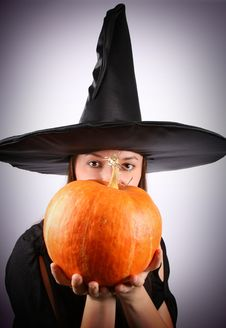 Free Witch With A Pumpkin Stock Images - 16264874
