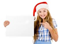 Santa Women Pointing At The White Board Royalty Free Stock Photo