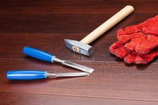 Gloves, Hammer And Chisels Stock Photo