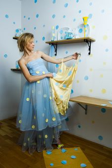 Free Portrait Of A Beautiful Blond Lady With A Dress Stock Image - 16267051