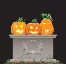 Free Pumpkins On The Tombstone Royalty Free Stock Image - 16267066