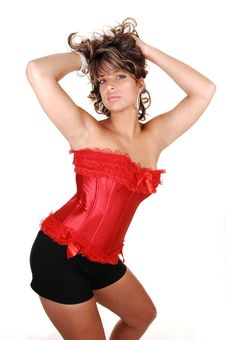 Free Pretty Girl In Red Corset. Stock Images - 16268204