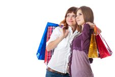 Free Two Teen Girls With Bags Royalty Free Stock Photography - 16268627