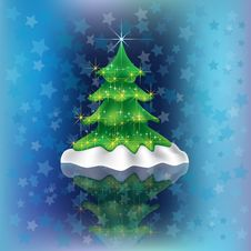 Free Christmas Tree On Blue Royalty Free Stock Image - 16270046