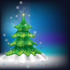 Free Christmas Tree With Snowflakes On Dark Stock Photos - 16270113