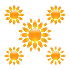 Free Set Of Glossy Sun Icons Stock Photo - 16271010
