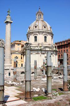 Free Traian Column And Santa Maria Di Loreto In Rome Stock Images - 16271644
