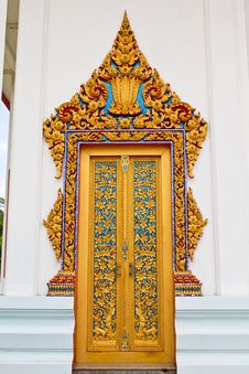 Traditional Thai Style Door Temple Royalty Free Stock Photography