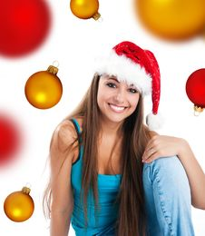 Attractive Women In Santa Claus Hat Royalty Free Stock Photography