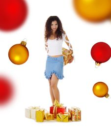 Woman With A Christmas Gifts Stock Photography