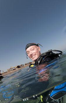 Scuba Diver On Surface Stock Photos