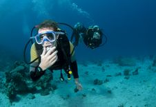 Scuba Divers Dive Together In Ocean Stock Photography