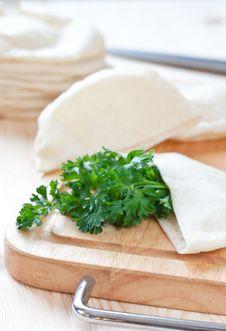 Free Pita Bread With Parsley Stock Photo - 16276240
