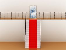 Stairway With Red Carpet To The Sky Stock Images