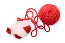 Free Isolated Red Skein And Knitted Socks Stock Images - 16279044