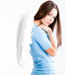 Free Young Woman With White Wings Royalty Free Stock Photography - 16279637