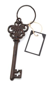Antique Key With Blank Card Royalty Free Stock Photo