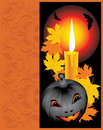 Free Pumpkin With Candle And Maple Leaves. Halloween Stock Photography - 16282492