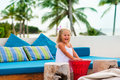 Free Pretty Happy Girl Have A Fun In Beach Cafe Stock Photography - 16282642
