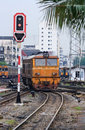 Free Orange Train Locomotive Approaching To Bangkok Rai Stock Photos - 16283063